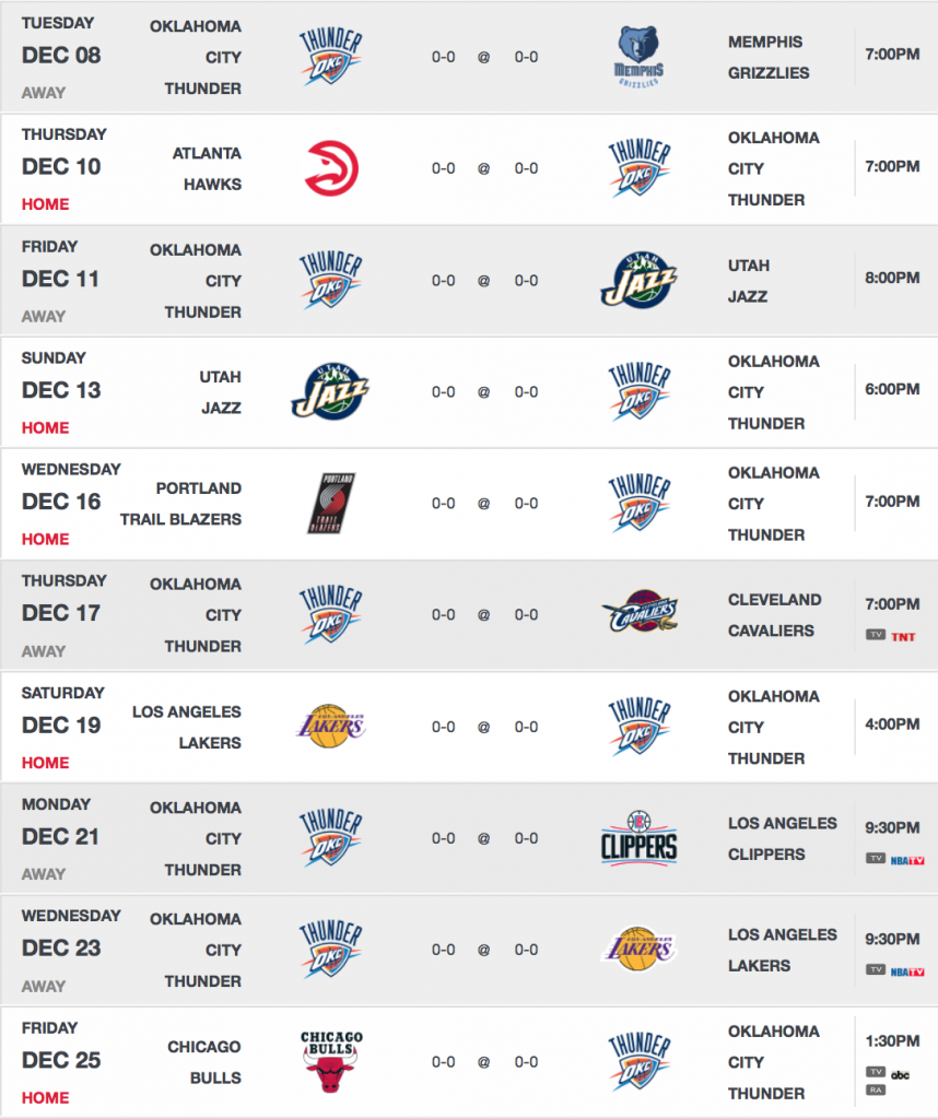 image gallery oklahoma city thunder schedule